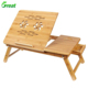 100% Natural Bamboo Laptop Desk.Bamboo Serving Tray Table Tilting Top With Drawer.