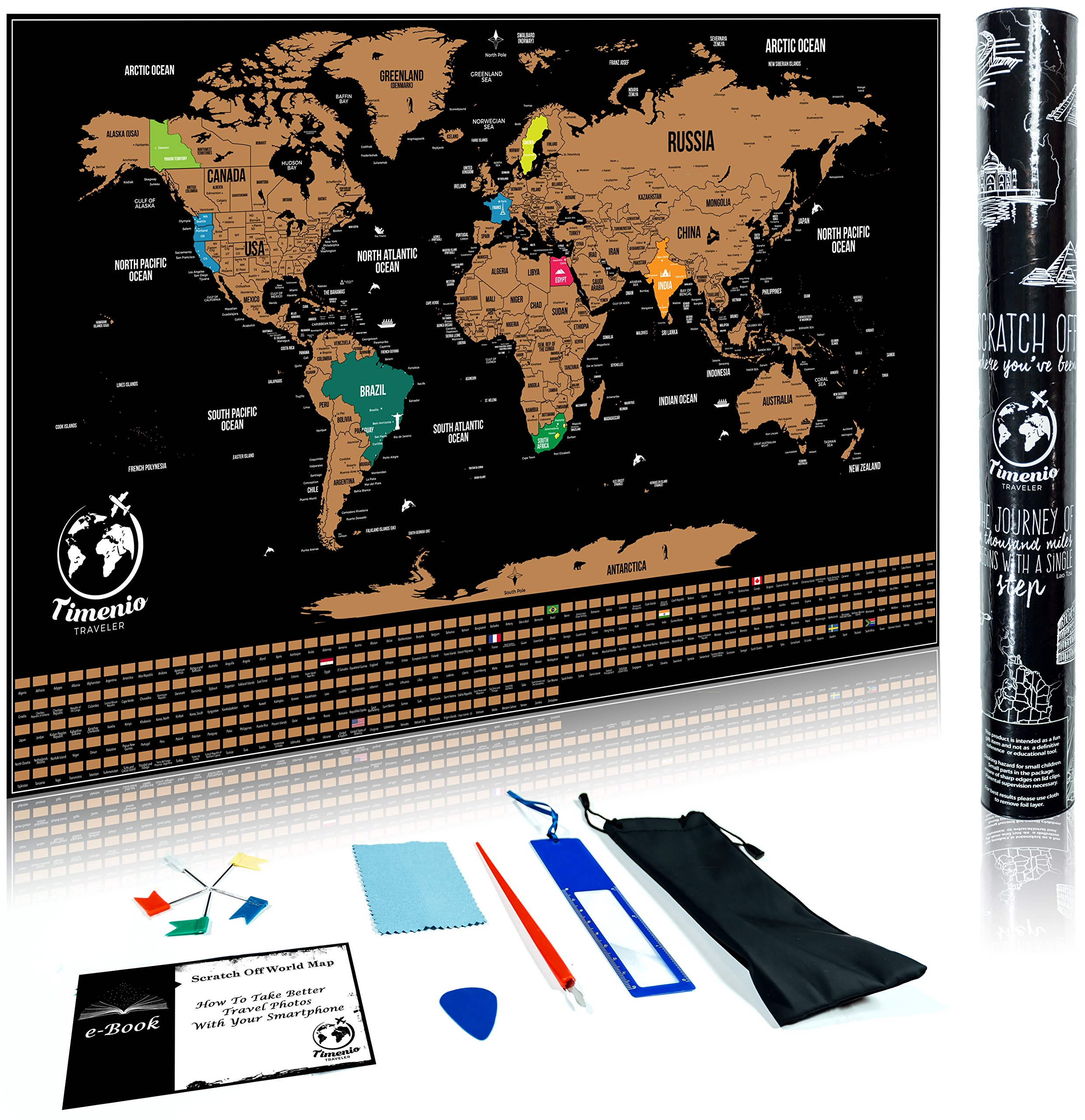 Scratch Off Map Of The World with Scratching Pen, Guitar Pick, Magnifier, Cleaning Cloth and 5 Pin Flags Set – World Map Scratch Off that Includes the US States and World Capitals