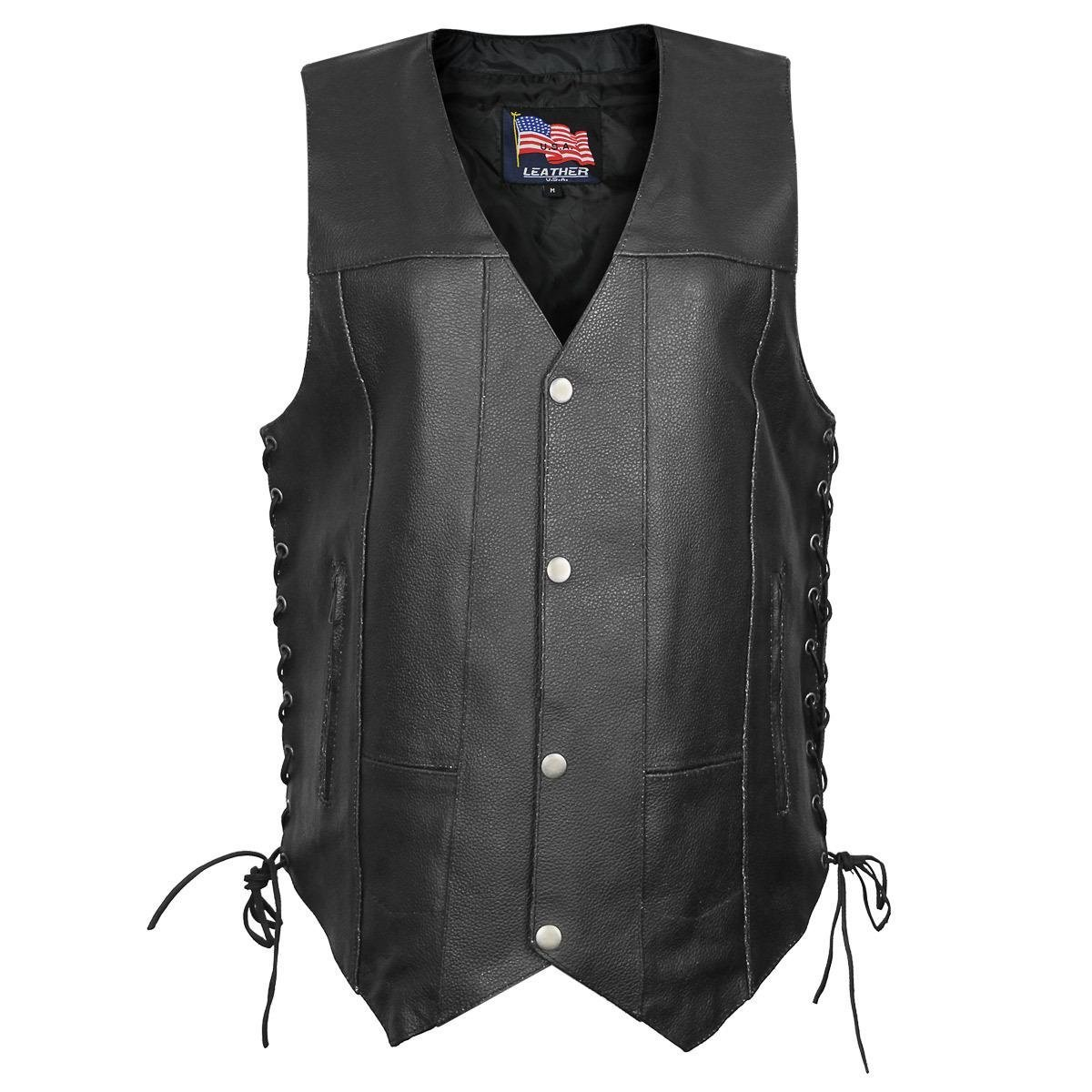 USA 1204 Classic Leather Mens Ten Pocket Vest with Side Laces - Large