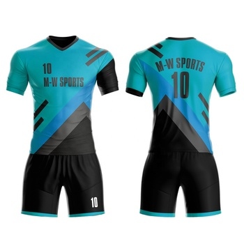 M-W Sports Customize Slim Fit V Collar Football Shirts Wholesale Sublimation Full Set Soccer Kits