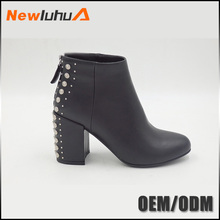 Wholesale OEM chunky heel leather women high boots