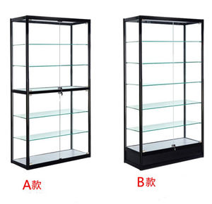 Full view glass display cabinet/ Custom size aluminum glass display showcase with led lights