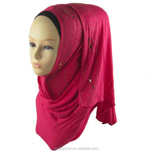 Fashionable muslim hijab with crystal beads paisley rhinestones jerey hijab