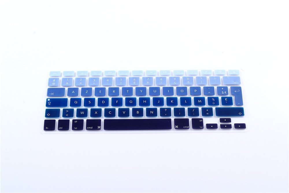 "French / English Keyboard Cover, HQF Notebook SiliconeFrench Belgian Keyboard Skin Protection Laptop Layout for All Apple Macbook Air Pro 13"" 15""US Version(Blue Gradient)"