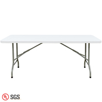 White Plastic Foldable Folding Outdoor Plastic Rectangle Dining Table