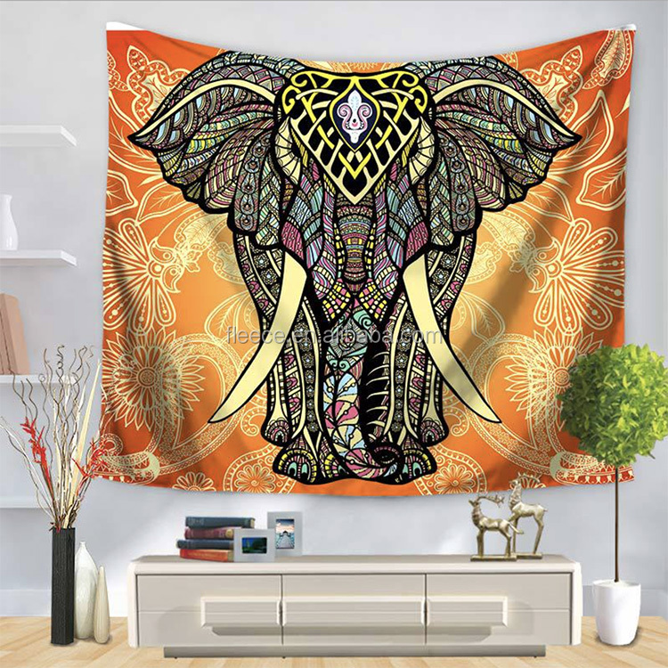 High Quality Watercolor Elephant Ganesh Psychedelic Wall Tapestry
