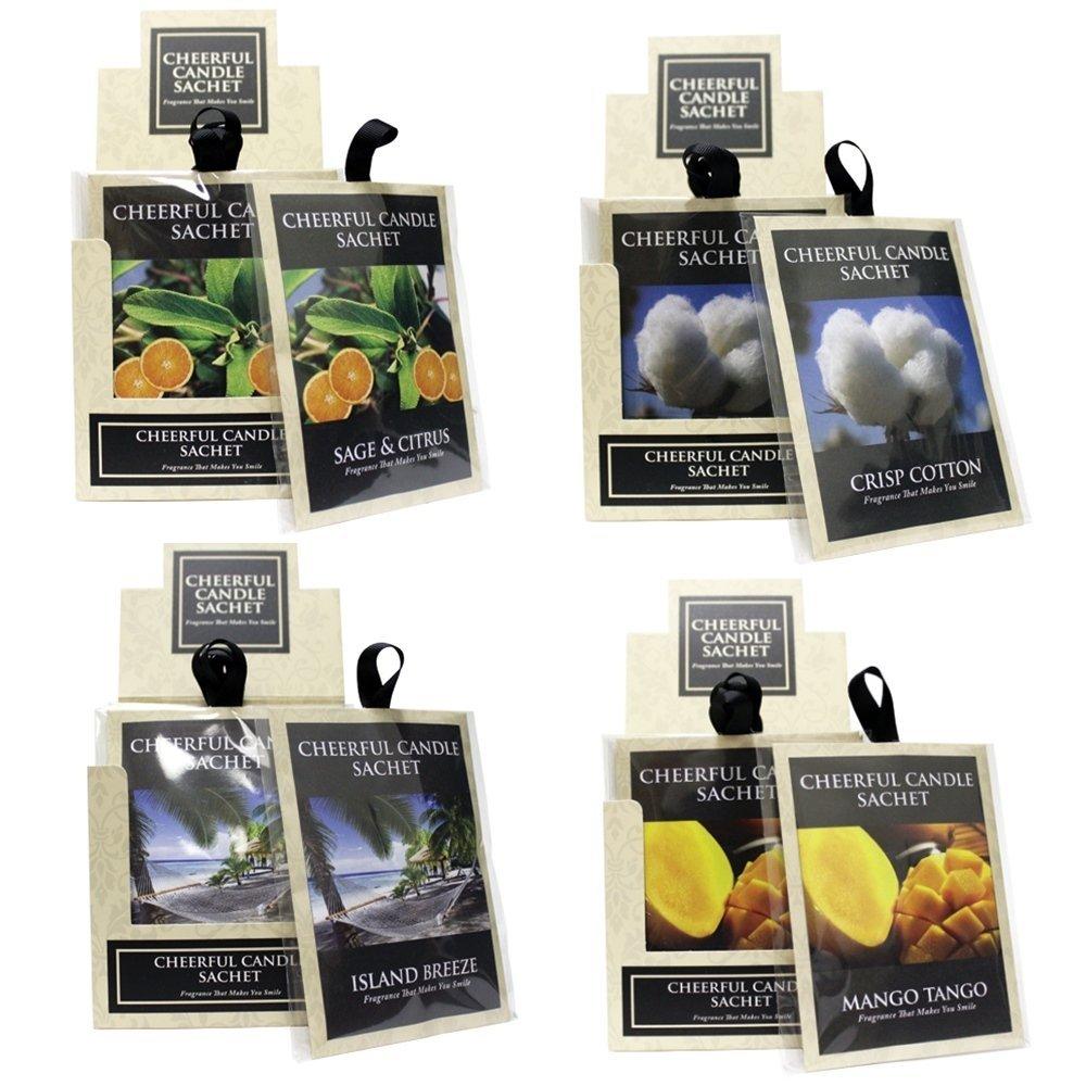 A Cheerful Giver Candle Fragrance Sachets, Sage and Citrus/Crisp Cotton/Island Breeze/Mango Tango