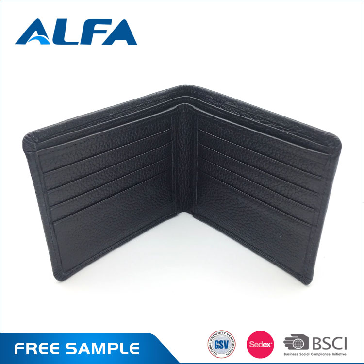 Alfa China Market New Products Hidden Pocket Metal Money Clip Genuine Leather Money Bag Leather Wallet