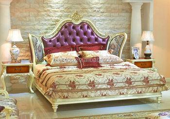 Luxe Paarse Slaapkamer : Europese stijl elegante tweepersoons bed paarse prinses paleis