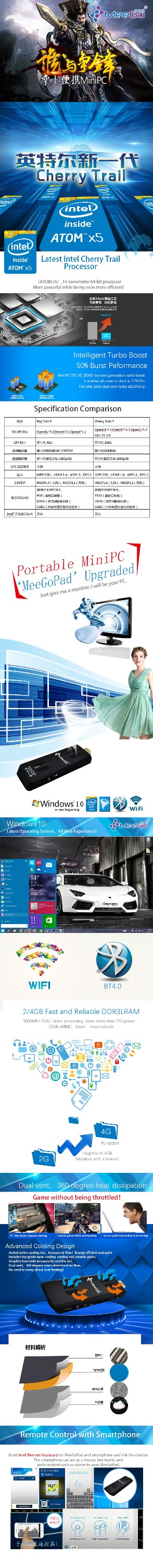2015 Arrival! meegopad t07 mini pc 2g 32g quad core window pc meegopad t07 WiFi BT super mini pc