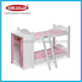 White Wooden Doll Bunk Beds Toy With Ladder And Storage Armoire Three Hangers Included