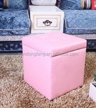 Square genuine leather foldable safety fancy fashionable storage stool ottoman
