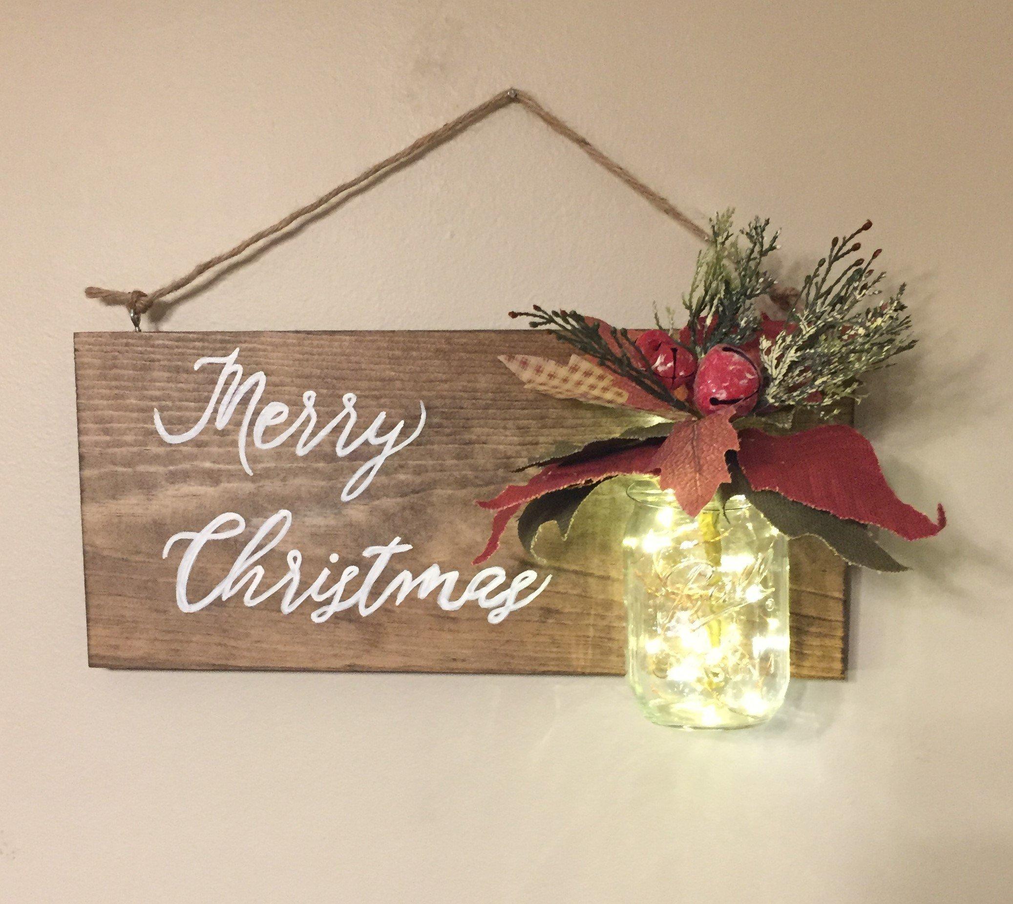 Rustic Farmhouse Christmas Wood Sign with Mason Jar, LED Fairy Lights and Vintage Poinsettia, Wall Sign, Home Decor