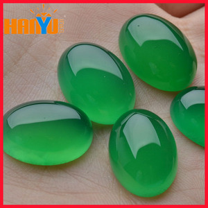 Natural Oval Cut Flat Back Cabochon Chrysoprase Gemstone Green Chalcedony Stone