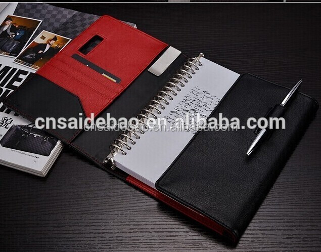 New Fashion 2018 Business Notebook Spiral book inside with card pocket customize Notebook with pen slot closure