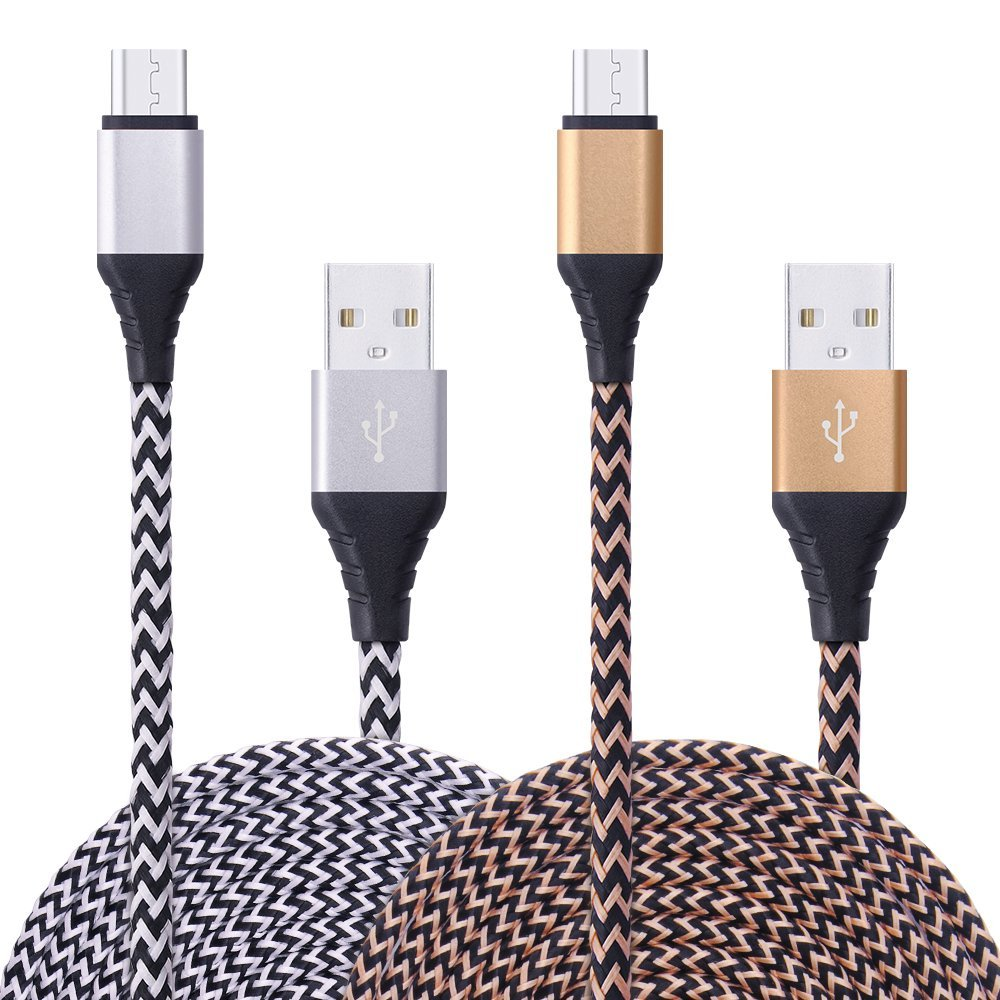 USB Cable, Ailkin High Speed 2-pack 6Ft Extra Long Premium Nylon Braided Charging Cable USB 2.0 A Male to Micro B Sync and Durable Cable for Samsung, HTC, LG, Sony and Other Android Device.