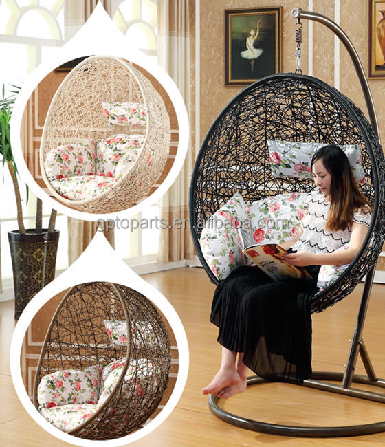 GP Rattan Outdoor Patio Balcony Porch Lounge Egg Swing Chair  with Cushin ang Stand