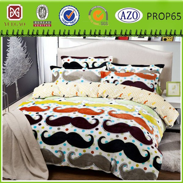 Cartoon beard printed flannel fleece blanket