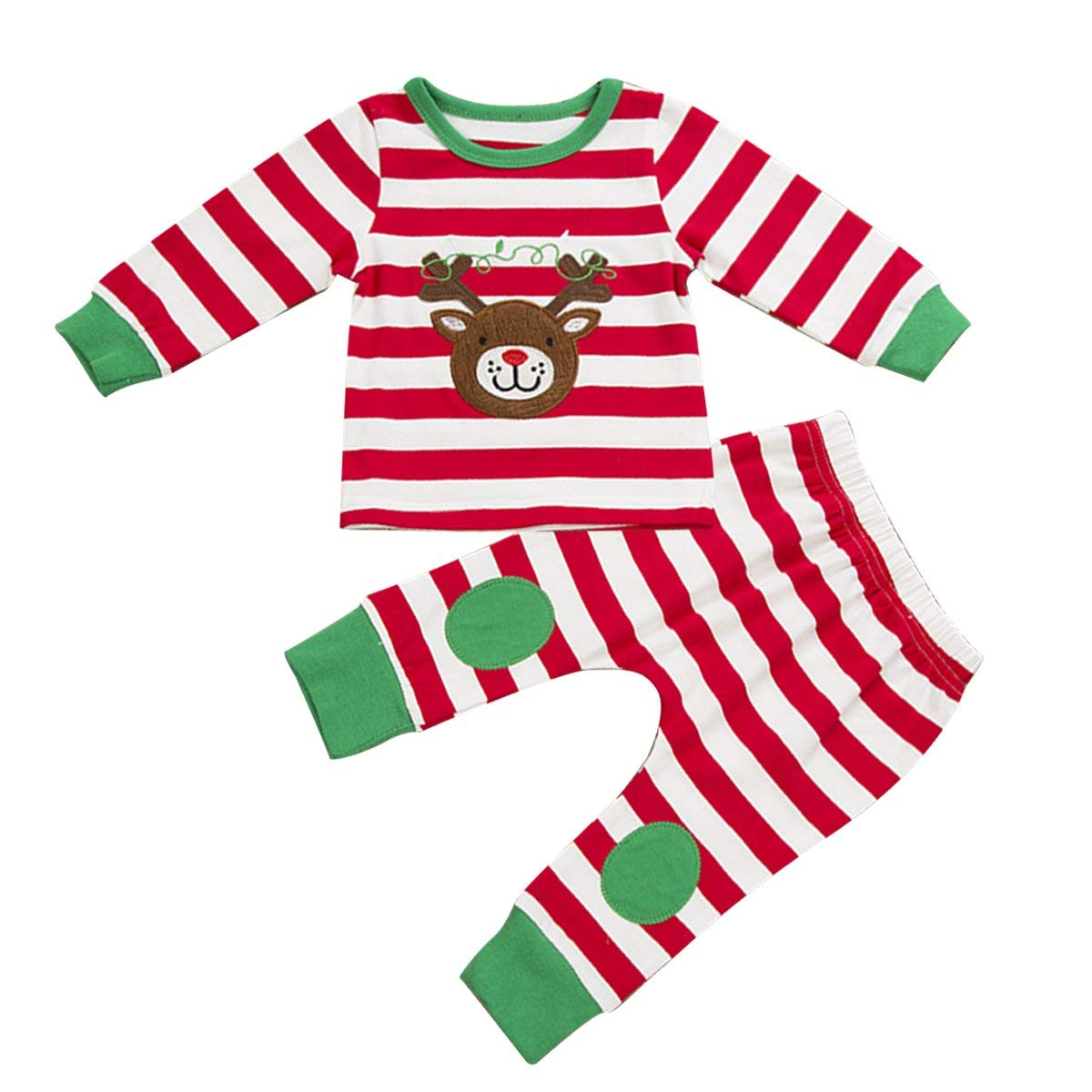 3720991e2 Get Quotations · puseky Baby Boys Girls Christmas Reindeer Stripe  T-Shirt+Pant Outfit Pajamas Set