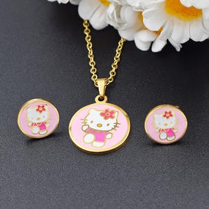 Charming Hello Kitty Earrings Pendant Girls Jewelery Collection,Girls fashion jewelry sets