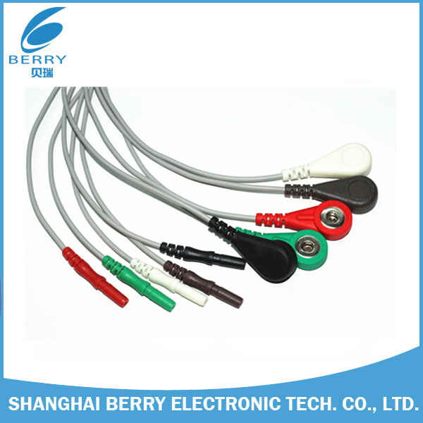 China Supplier Edan 5 Leads DIN EKG/EMG/EEG/ECG snap leads Wire