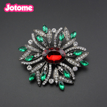 Women's Austrian Crystal Wedding Flower Rhinestone Leaf Bouquet Brooch