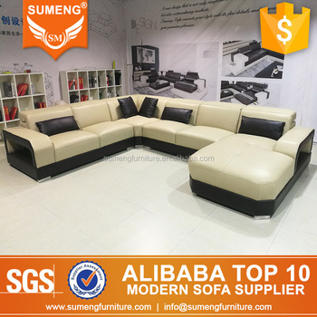 Modern Italian Style Living Room U Shape Leather Sectional Sofa