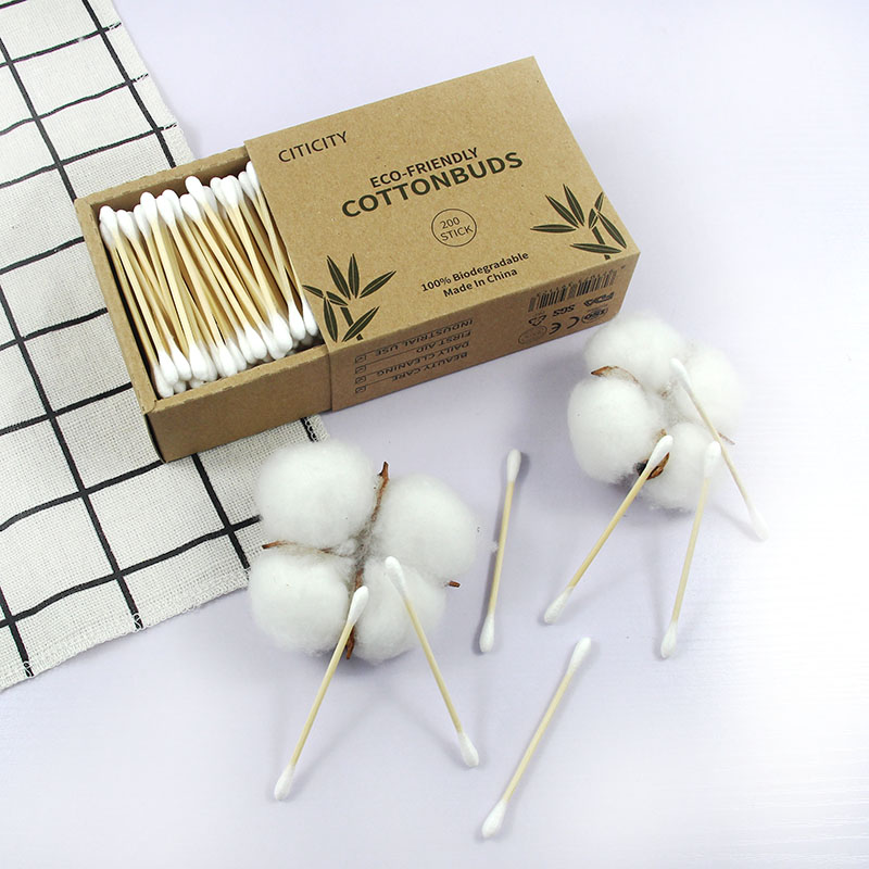 200pcs eco friendly baby bamboo stick cotton swab ear cleaning cotton buds