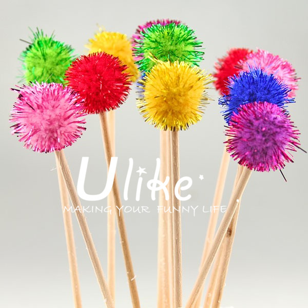 coloured pom pom ball cocktail sticks. birthday party decorations
