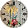 Canvas Printed Floral Background on a Wood Frame Decorative Wall Clocks