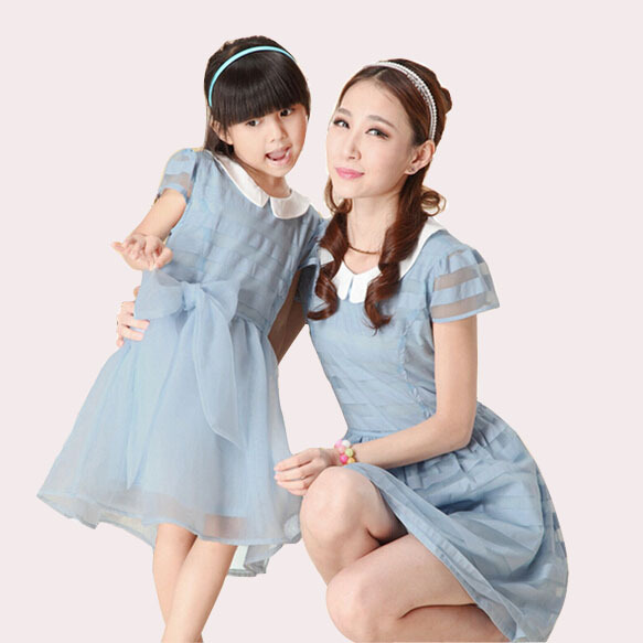 b027fd1732c Get Quotations · 2015 New Summer Style family clothing Korean Cute Organza  matching mother daughter clothes Princess Daughter Dress