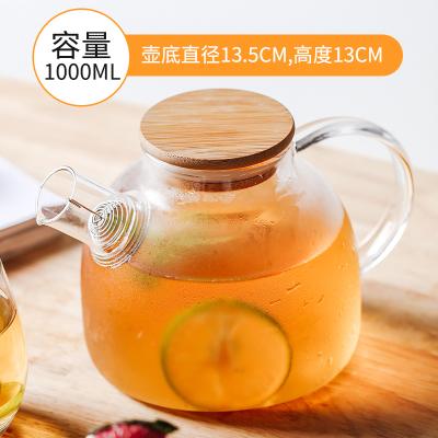 1Л/1.5л большой прозрачный боросиликатный стеклянный чайник термостойкий большой прозрачный чайный горшок цветочный чайный набор пуэр чайн...(Китай)