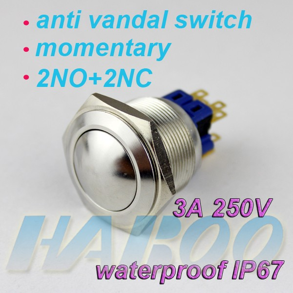 dia.25mm latching or momentary push button switch 2NO+2NC ball head metal sitch waterproof IP67 250V 3A