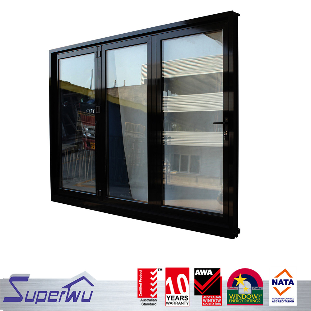 Aluminum glass bi folding doors patio double glazed accordion doors design