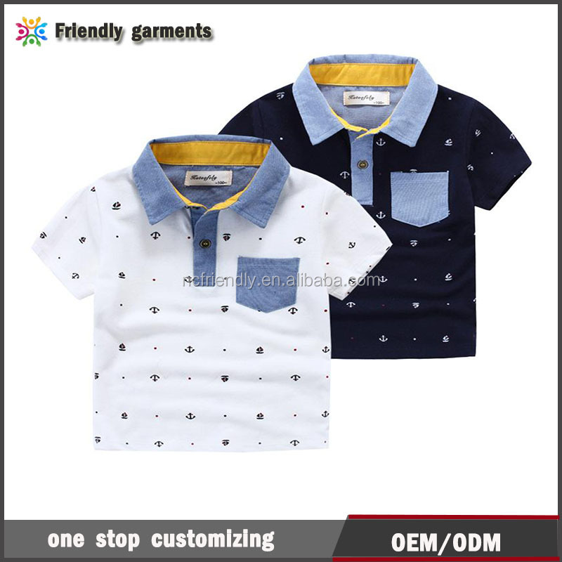 Hot! boys Polo shirts short sleeve quality Brand applique collar anchor pinrt cotton boy knitted Polos Children clothing