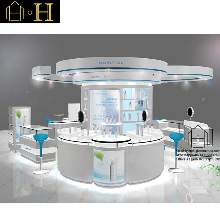 Hot Sale Shopping Mall furniture design Nail Kiosk cosmetic display rack cosmetic makeup cosmetic display stand