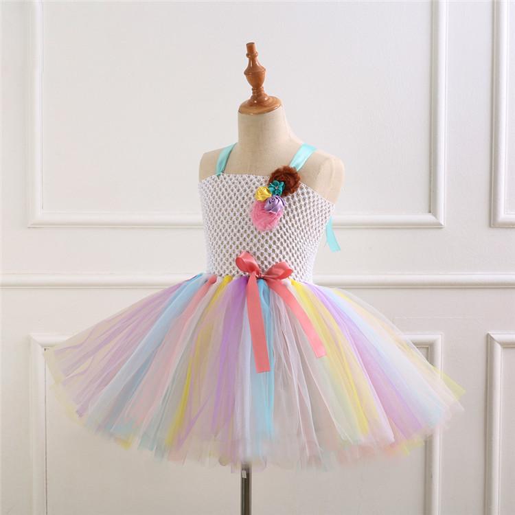 f649984d0 De moda de ganchillo hecho a mano Arco Iris tutu top de las niñas hechas a  mano vestido de arco iris