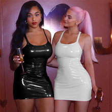 PU Leather Sexy Bodycon <span class=keywords><strong>Jurken</strong></span> Vrouw Party Night Club Wear <span class=keywords><strong>2019</strong></span> Winter Jurk Zwart Wit Mini <span class=keywords><strong>Bandage</strong></span> Jurk