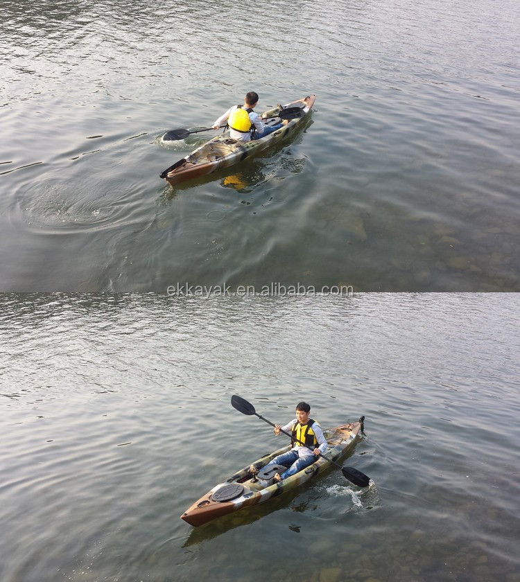 Cheap plastic pedal sea fishing kayak with chair seat for Sea fishing kayak