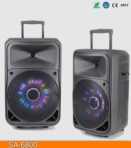 "Trolley Battery Speaker 15"" Large Audio Loudspeaker Box Professional Stage Active Speaker With Bluetooth"