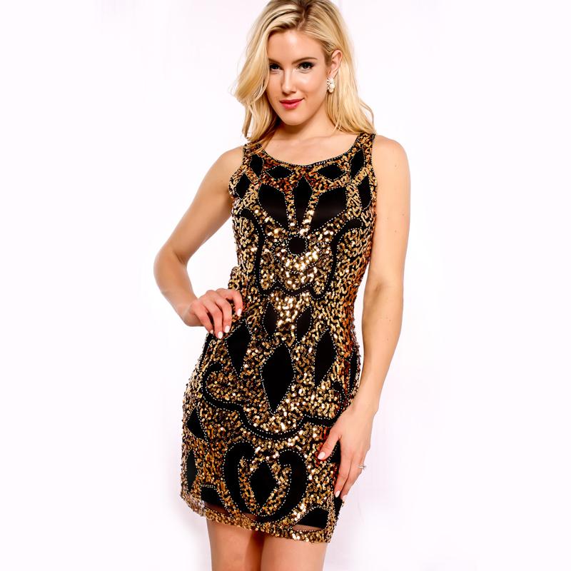 4dfb00cc8e3258 Hoge Kwaliteit Vrouwen Vintage Gold Sequin Jurk Ronde Hals Mouwloze Korte  Jurk Mini Bodycon Jurk