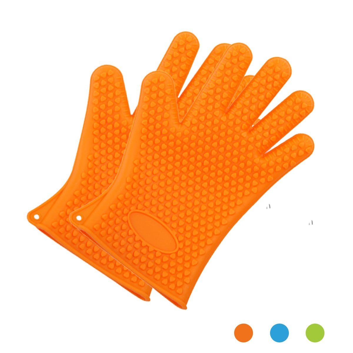 HAPPYX Silicone Cooking & Grilling Gloves - Heat Resistant Oven Mitt for Grilling, BBQ, Baking –Versatile Non-Slip Potholders - Insulated & Waterproof - Full Finger, Hand, Wrist Protection (Orange)