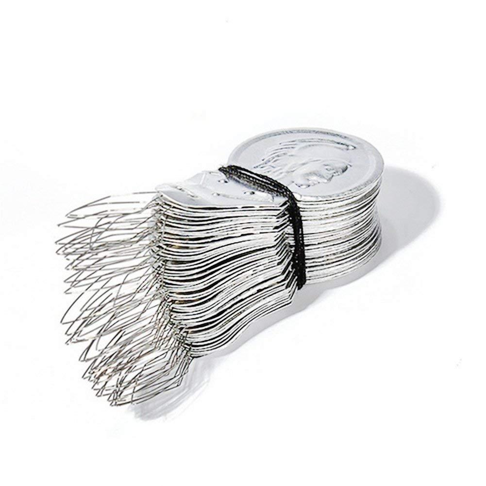 yodaliy Needle Threader,50pcs 41170.4mm Silver Tone Wire Loop Aluminum Slice DIY Needle Threader Stitch Insertion Hand Machine Sewing Tool Quilting Craft (50pcs)