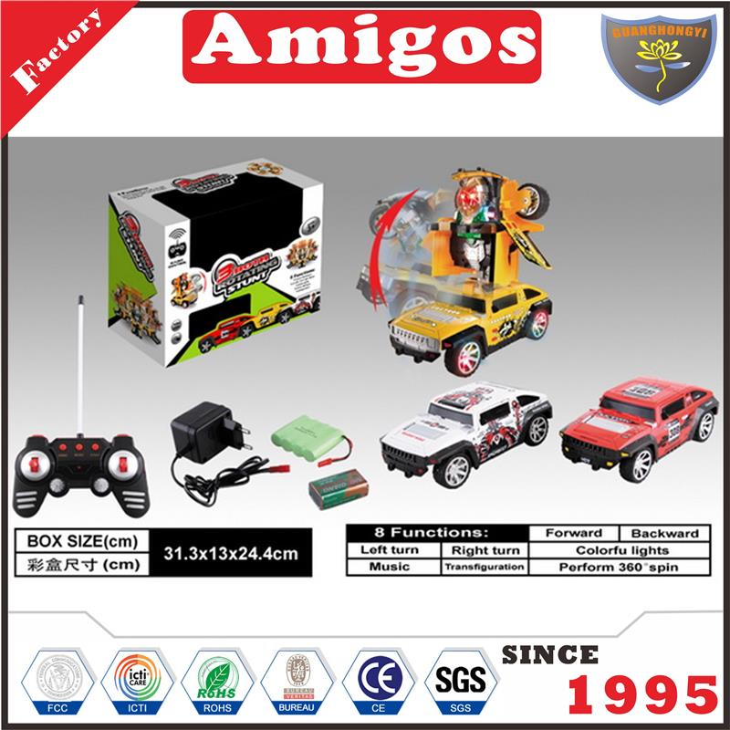 RC with light/music/auto play/transformation/battery included Hummer/red/white/yellow stunt remote control car for child
