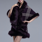 Winter Plaid Shawl Faux Fur jacket Fake Fur Women Coats