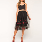 Moderate Cost Rose Embroidered Mesh Organza Midi Lady Skirt