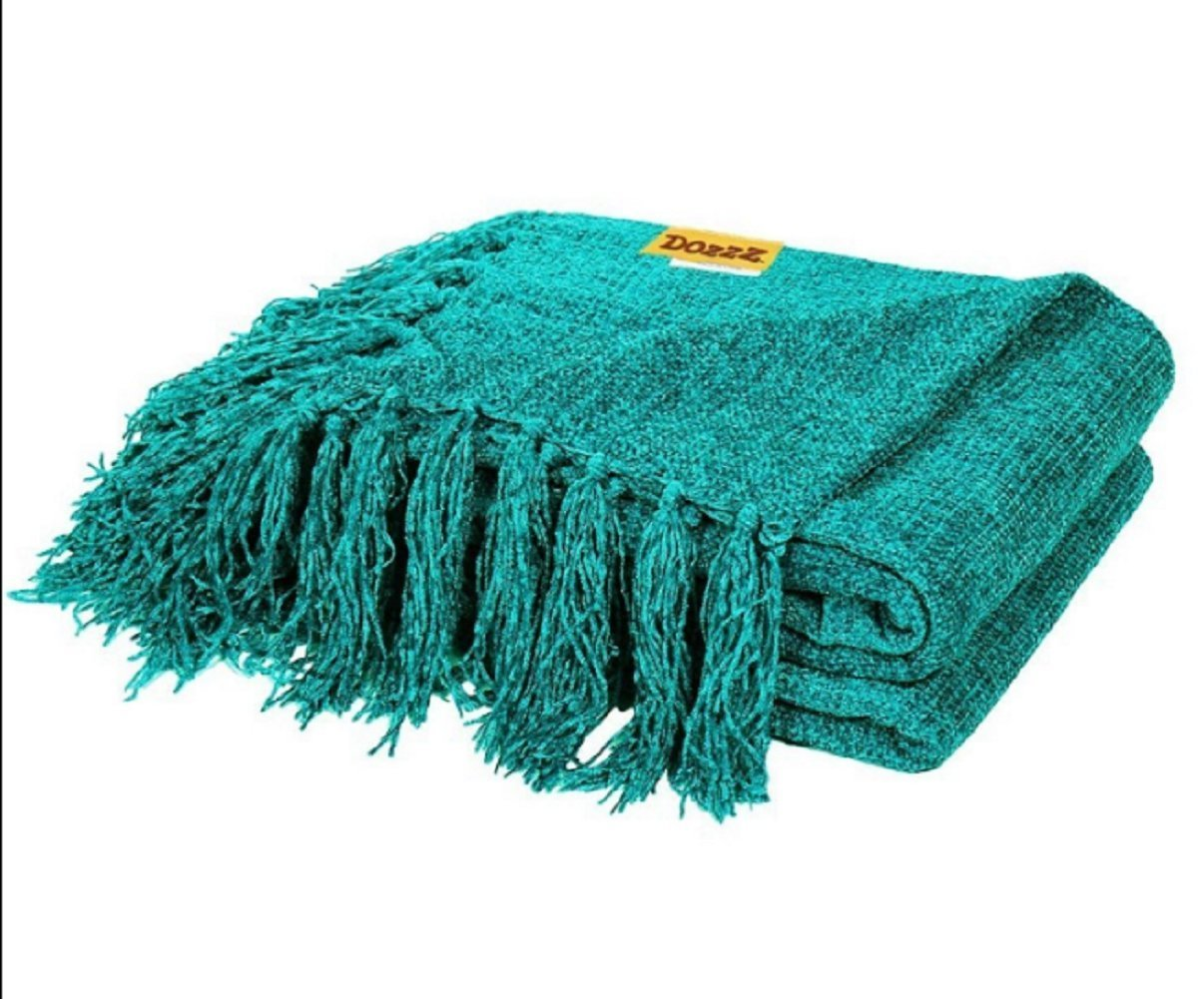 Dozzz Decorative Throw Light Weight Chenille Blanket For Couch Teal Throws With Fringe Sofa