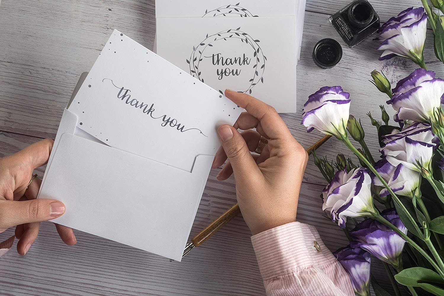 100 Custom Greeting Card White 50 pack Thank You Cards