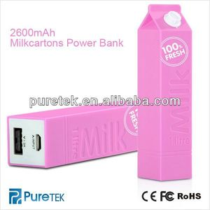 Exquis 2600mAh Distinctive Milk Box Power Bank For IPhone 5 And IPad Mini And IPhone 4S 4 3GS