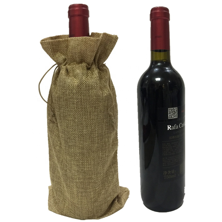 Reusable Eco-Friendly Strong Single Jute Cheap Wholesale Wine Drawstring Bag For Gift